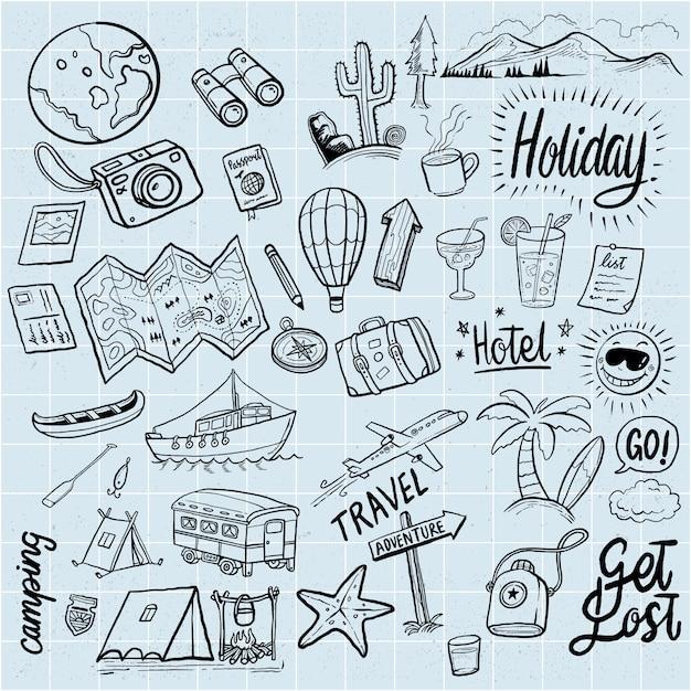 Férias de mão desenhada doodles elementos Vetor Premium