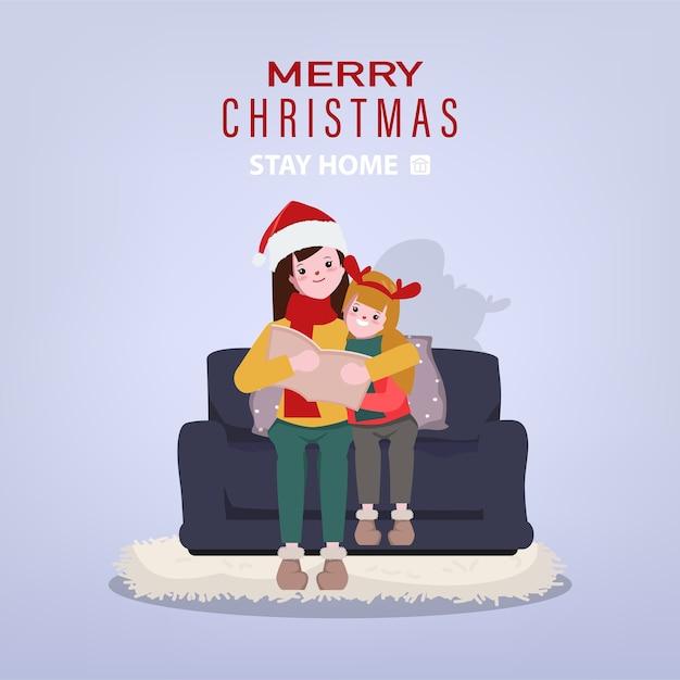 Férias de natal e estadia em casa com a família. Vetor Premium