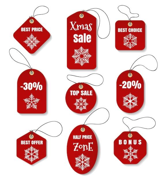 Férias de natal vermelho tags ou etiquetas Vetor Premium
