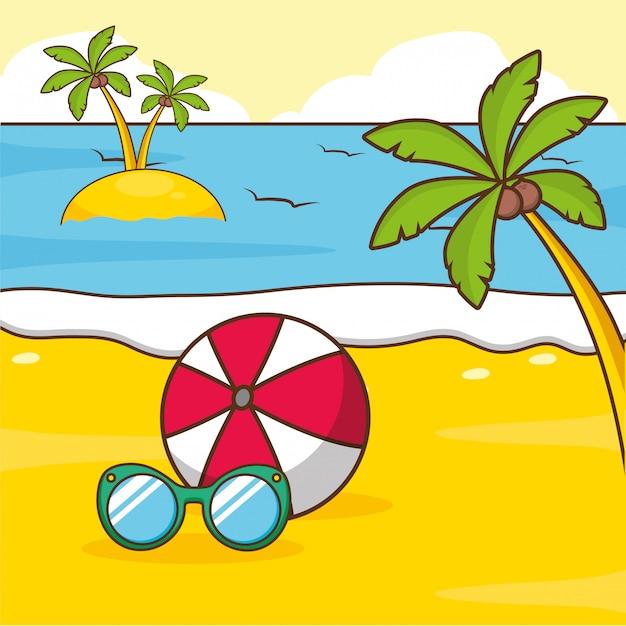 Férias de praia Vetor grátis