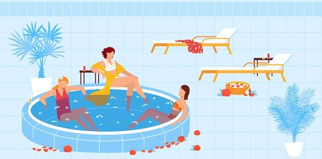 Férias de spa resort, ilustração de piscina. Vetor Premium