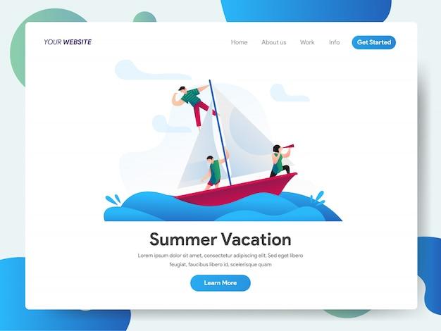 Férias de verão com banner de barco para landing page Vetor Premium