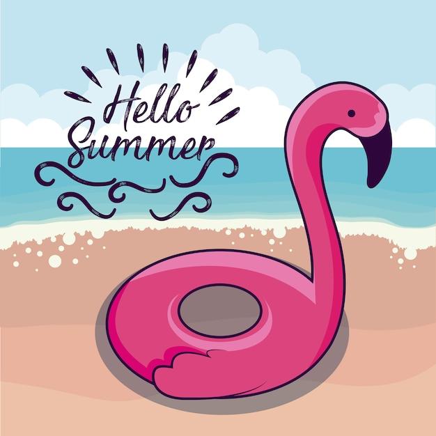 Férias de verão com float flamengo na praia Vetor Premium