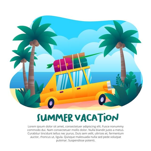 Férias de verão com um lindo carro amarelo Vetor Premium