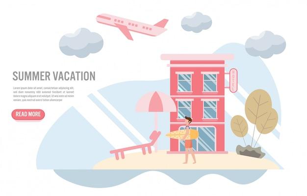 Férias de verão e conceito de viagem Vetor Premium