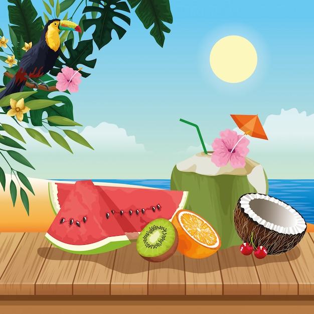 Férias de verão e desenhos de praia Vetor Premium