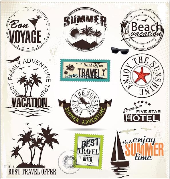 Férias de verão e etiquetas de viagem Vetor Premium