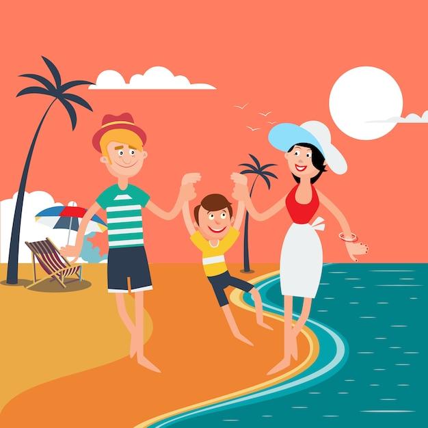 Férias de verão em família. família feliz no mar. Vetor Premium