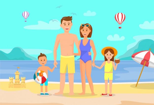 Férias de verão, férias com família desenho plano. Vetor Premium