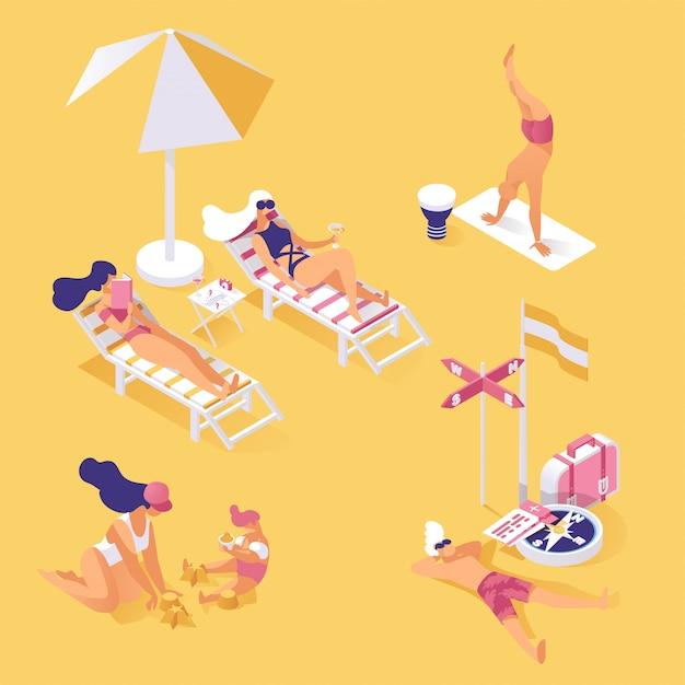 Férias de verão na ilustração isométrica de beira-mar. pessoas, desfrutando, verão, feriado Vetor Premium
