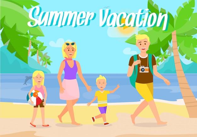Férias de verão na praia cartão postal plana com texto. Vetor Premium