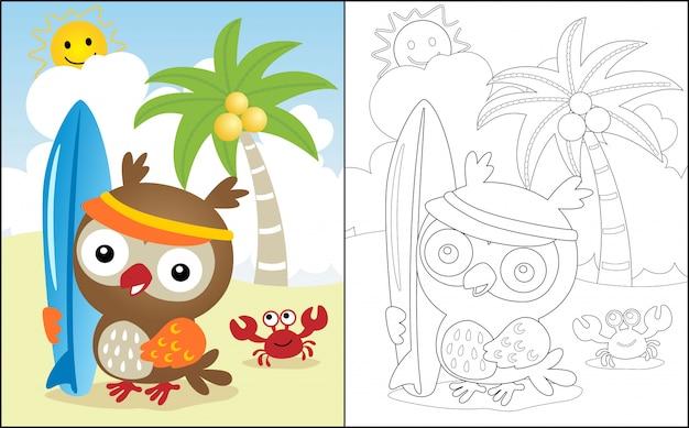 Férias de verão na praia com desenho de coruja Vetor Premium
