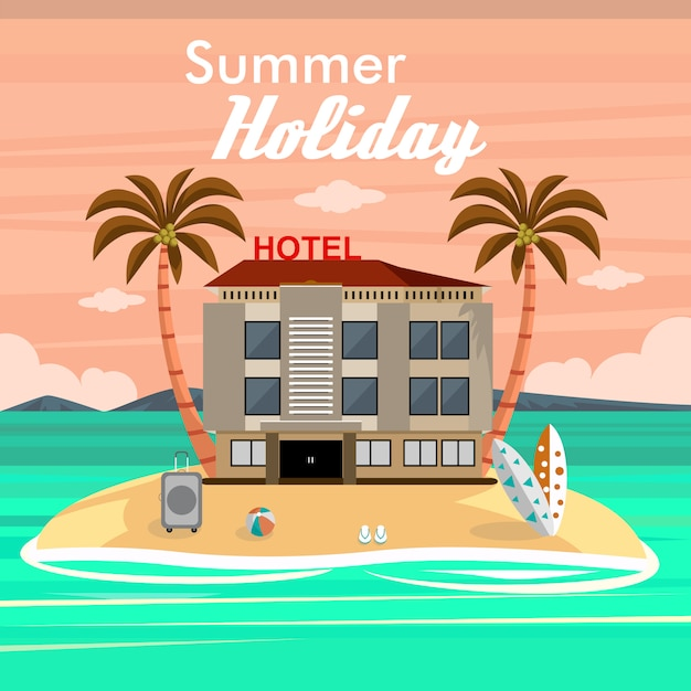 Férias de verão na praia com o hotel e acessórios de viagem Vetor Premium