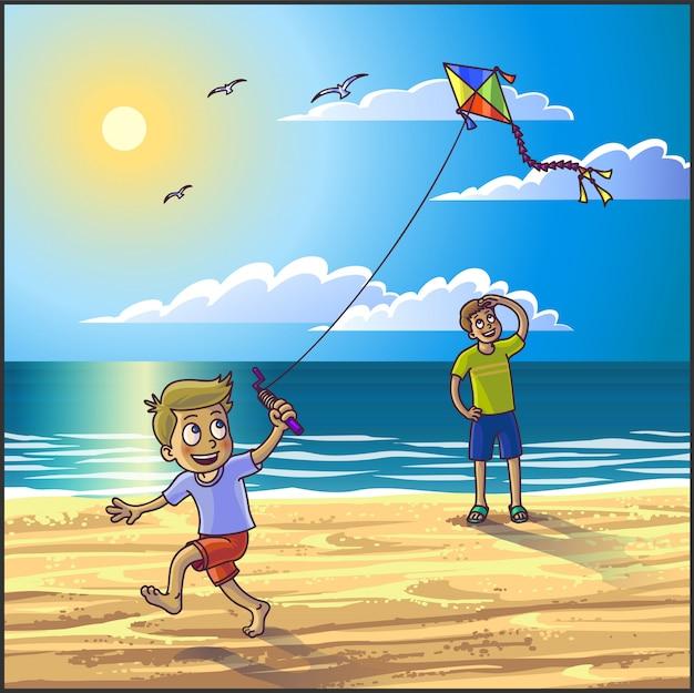 Férias de verão na praia. Vetor Premium