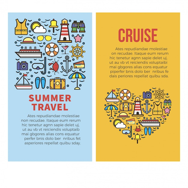 Férias de verão ou modelo de cartazes de vetor de viagens de cruzeiro no mar Vetor Premium