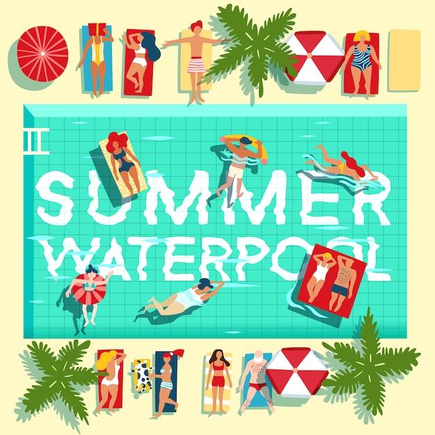 Férias de verão piscina cartaz plana Vetor grátis
