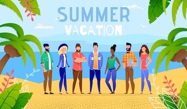 Férias de verão por pessoas do grupo do oceano Vetor Premium