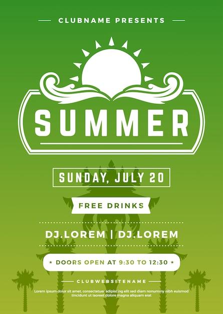 Férias de verão praia festa cartaz boate evento Vetor Premium