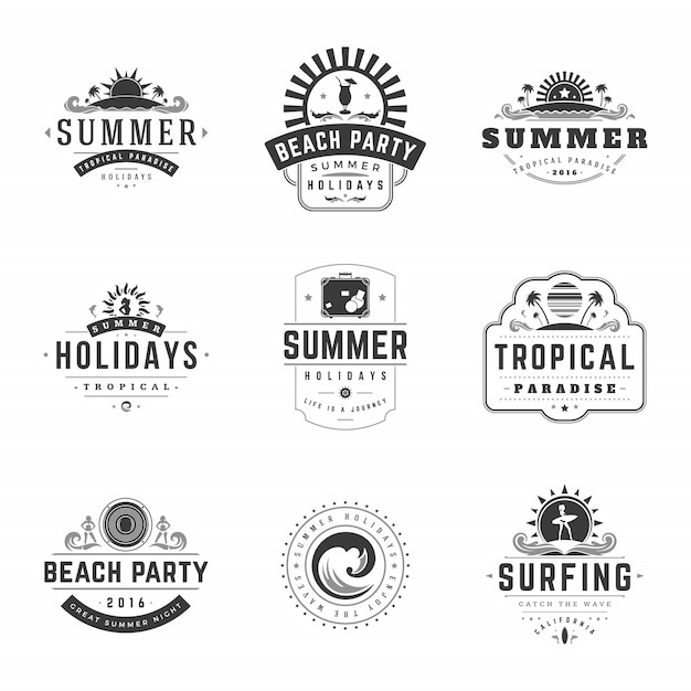 Férias de verão rótulos ou emblemas retrô tipografia vector conjunto de modelos de design. Vetor Premium