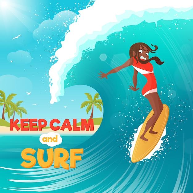 Férias de verão, surfando cartaz colorido liso Vetor grátis