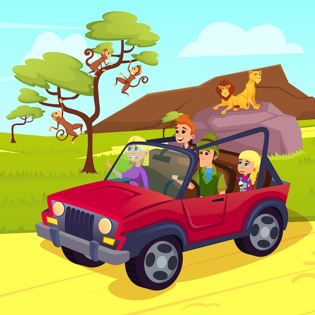 Férias de vida selvagem, família dirigindo jeep no safari Vetor Premium