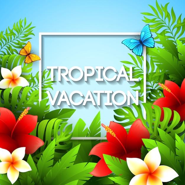 Férias exóticas. ilustração com plantas e flores tropicais Vetor Premium