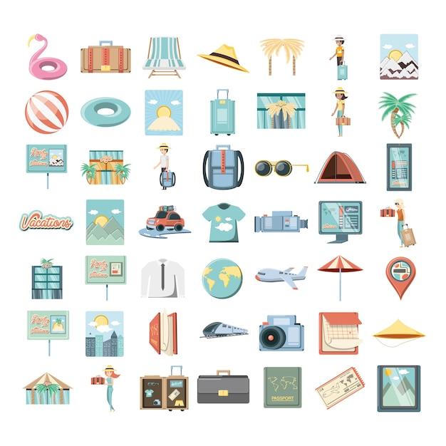 Férias férias conjunto ícones viagens ilustração vetorial Vetor Premium