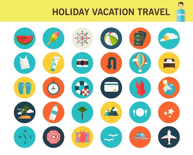 Férias férias viagem consept ícones planas. Vetor Premium