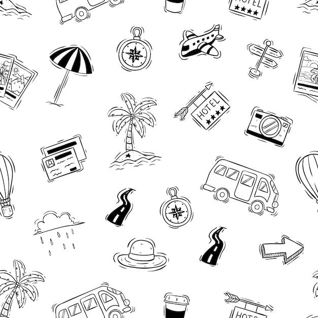 Férias fofos ou viagens doodle elementos no padrão sem emenda Vetor Premium