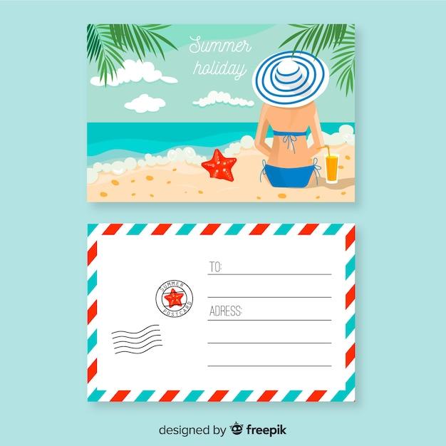 Férias planas de verão cartão postal Vetor grátis