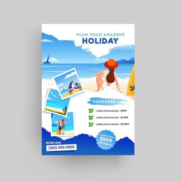 Férias, viagens de verão e flyer de turismo Vetor Premium