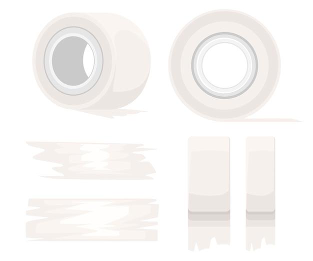 Ferramenta de escritório e outras coisas. rolo de fita adesiva. fita adesiva branca e pedaços de fita adesiva. ilustração em fundo branco Vetor Premium