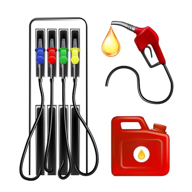 Ferramenta, mangueira e recipiente para posto de gasolina Vetor Premium