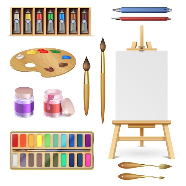 Ferramentas artísticas e materiais de arte com cavalete, pincel de tintas de paleta e lápis de cor isolado vector set Vetor Premium