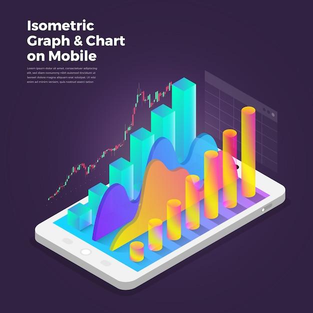 Ferramentas de análise de aplicativo móvel do conceito de design isométrica. Vetor Premium