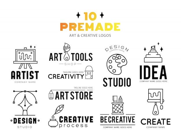Ferramentas de arte e materiais para pintura design de logotipo. Vetor grátis