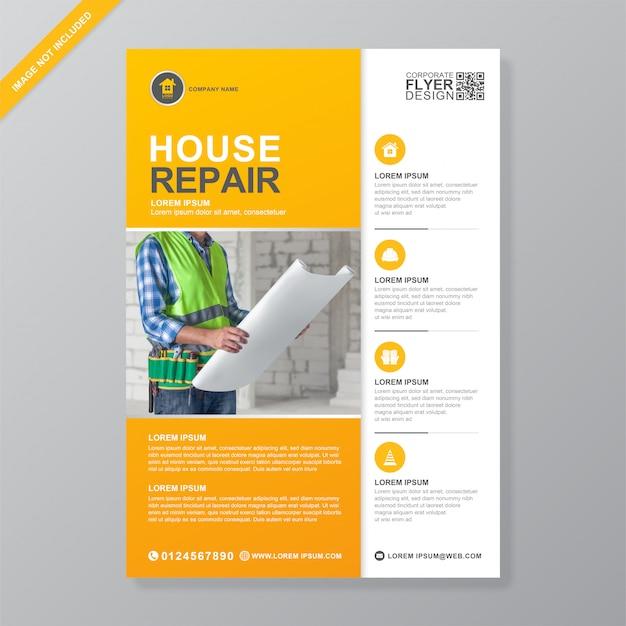 Ferramentas de construção cobrem modelo de design de folheto a4 Vetor Premium