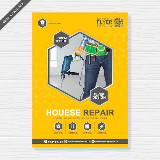 Ferramentas de construção cobrem o modelo de design de folheto a4 Vetor Premium