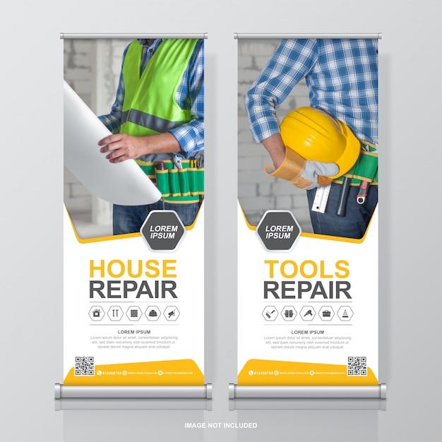 Ferramentas de construção roll up design e modelo de banner standee para exposição Vetor Premium