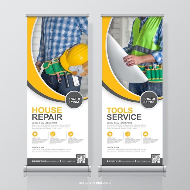 Ferramentas de construção roll up design e modelo de banner standee Vetor Premium