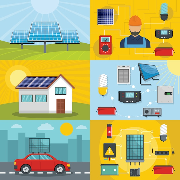 Ferramentas de energia solar Vetor Premium
