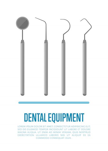 Ferramentas de equipamentos médicos para tratamento dentário de dentes Vetor Premium