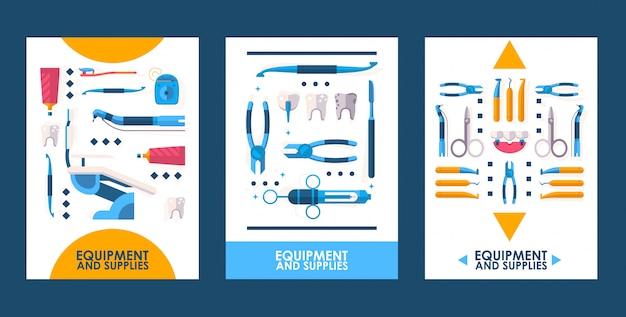 Ferramentas de equipamentos odontológicos, instrumentos médicos plana ícones Vetor Premium