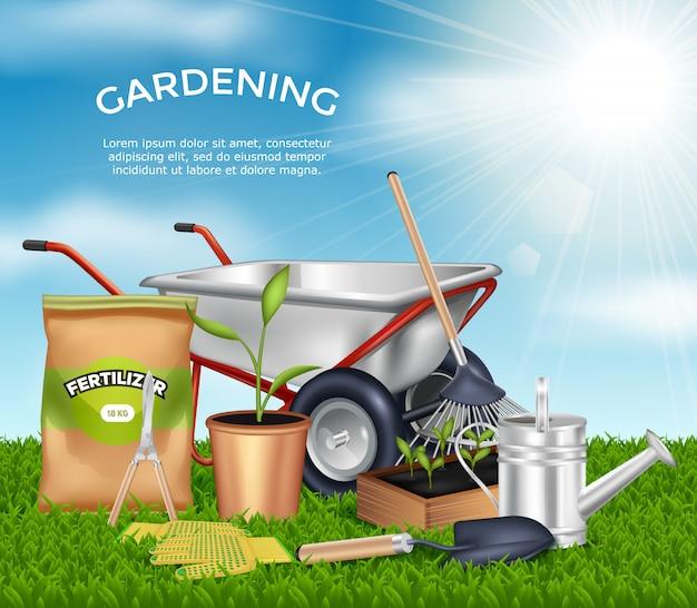 Ferramentas de jardinagem na ilustração de grama verde Vetor grátis