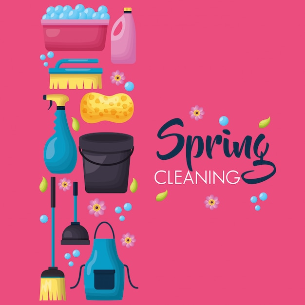 Ferramentas de limpeza de primavera Vetor grátis