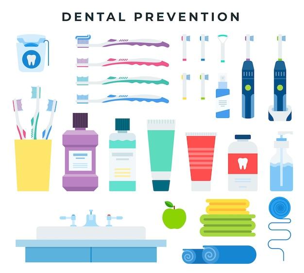 Ferramentas de limpeza dentária para higiene bucal preventiva Vetor Premium