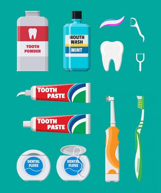 Ferramentas de limpeza dentária. produtos de higiene bucal Vetor Premium