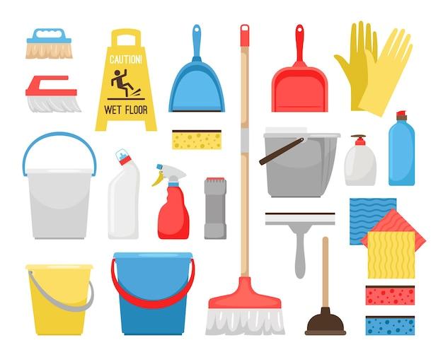 Ferramentas de limpeza doméstica. ícones de ferramentas de limpeza para limpeza doméstica e de escritório, balde e espuma, garrafas de detergente e material de lavagem, escova de varredura e ilustração vetorial de balde Vetor Premium