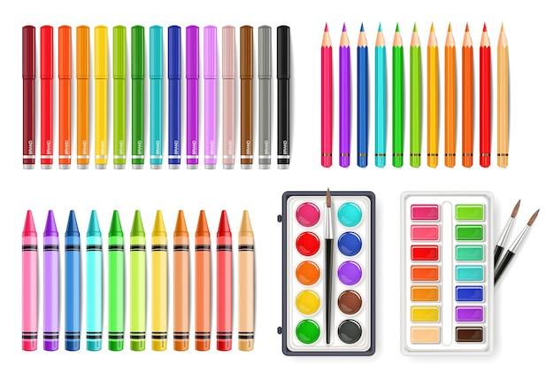 Ferramentas de paleta de aquarela colorida Vetor Premium