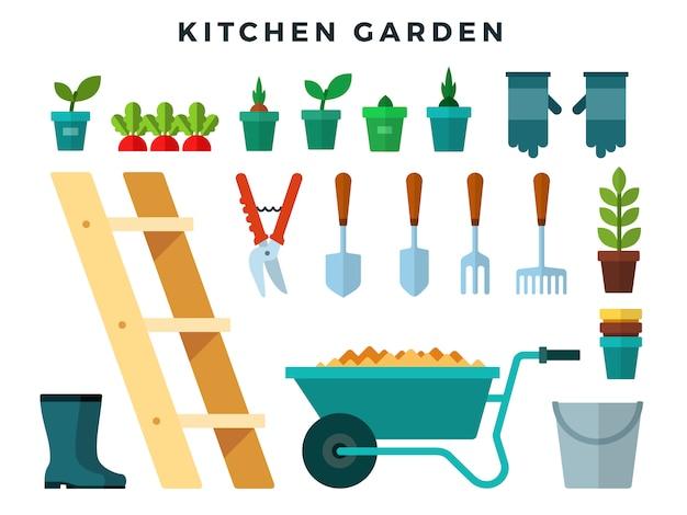 Ferramentas e equipamentos para trabalhar na horta, ícones planas definida. Vetor Premium